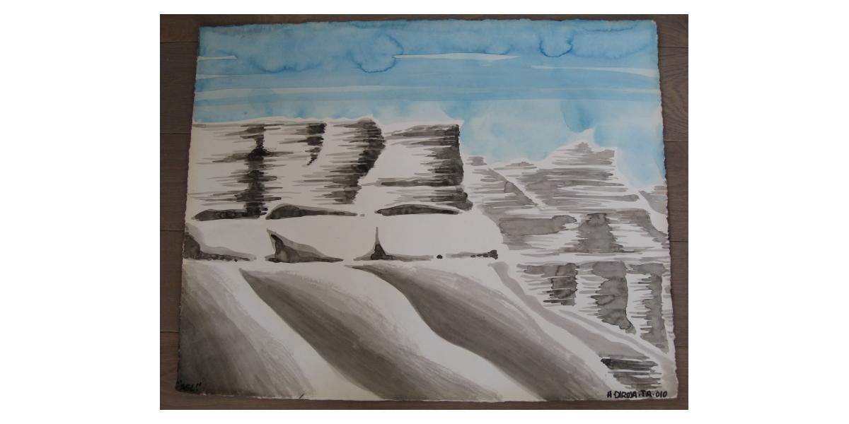 Falaises de sel,  2010, aquarelle sur papier, 50 x 65 cm, 17ème étape du tour du monde, Tel Aviv, Hervé Di Rosa