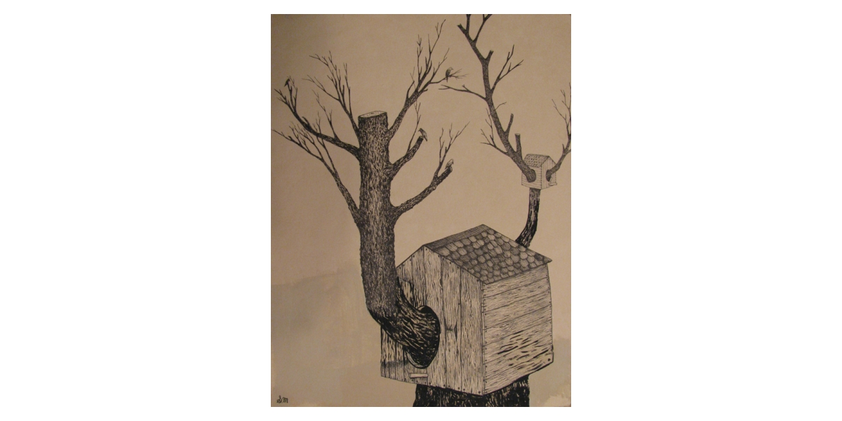 Home, 2010, Encre et stylo sur papier, 30 x 25 cm