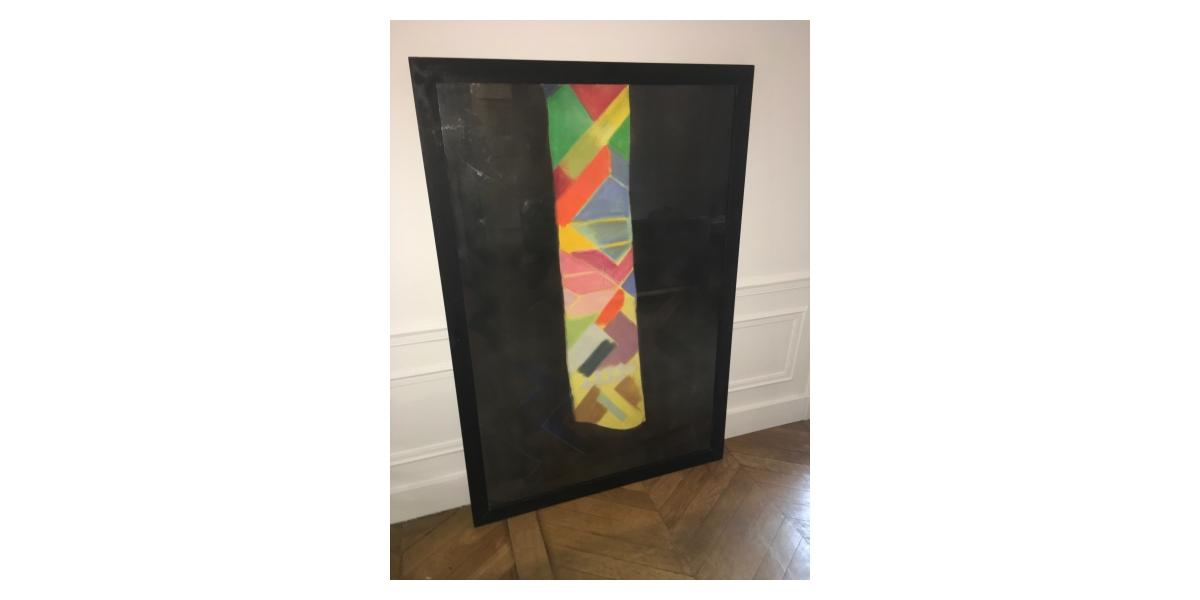 Sans Titre, Acrylique et pastel sur papier, 1990, 110 x 75 cm, Collection particulière, Reproduit dans le catalogue Xavier Bordes (1992), Guy De Rougemont