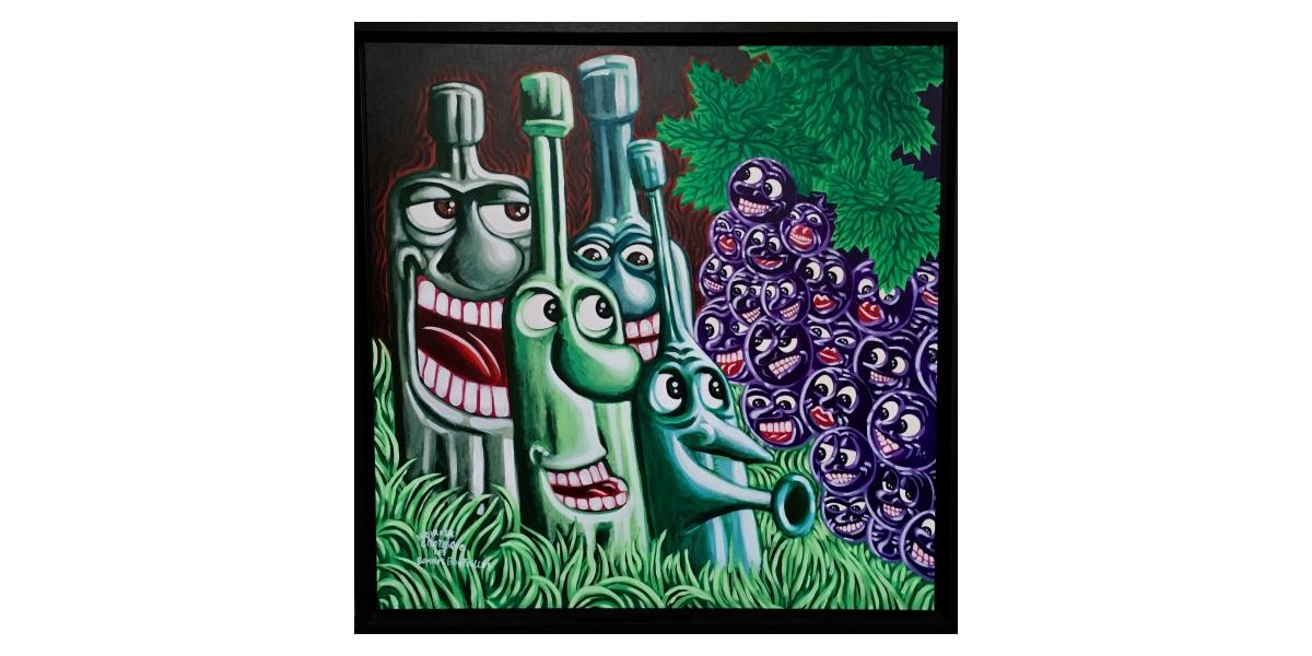 Les bonnes bouteilles, Grotesque, Acrylique sur toile, 104 x 104 cm