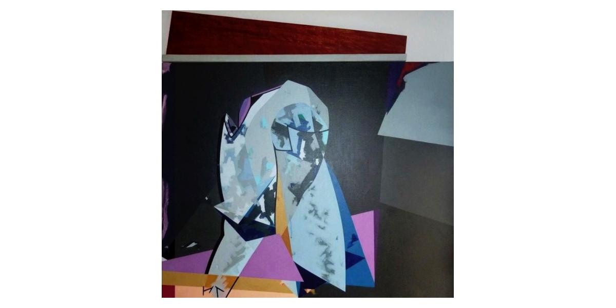 Hervé Télémaque, Le Genou clair (1993), acrylique sur toile, 100 x 100 cm