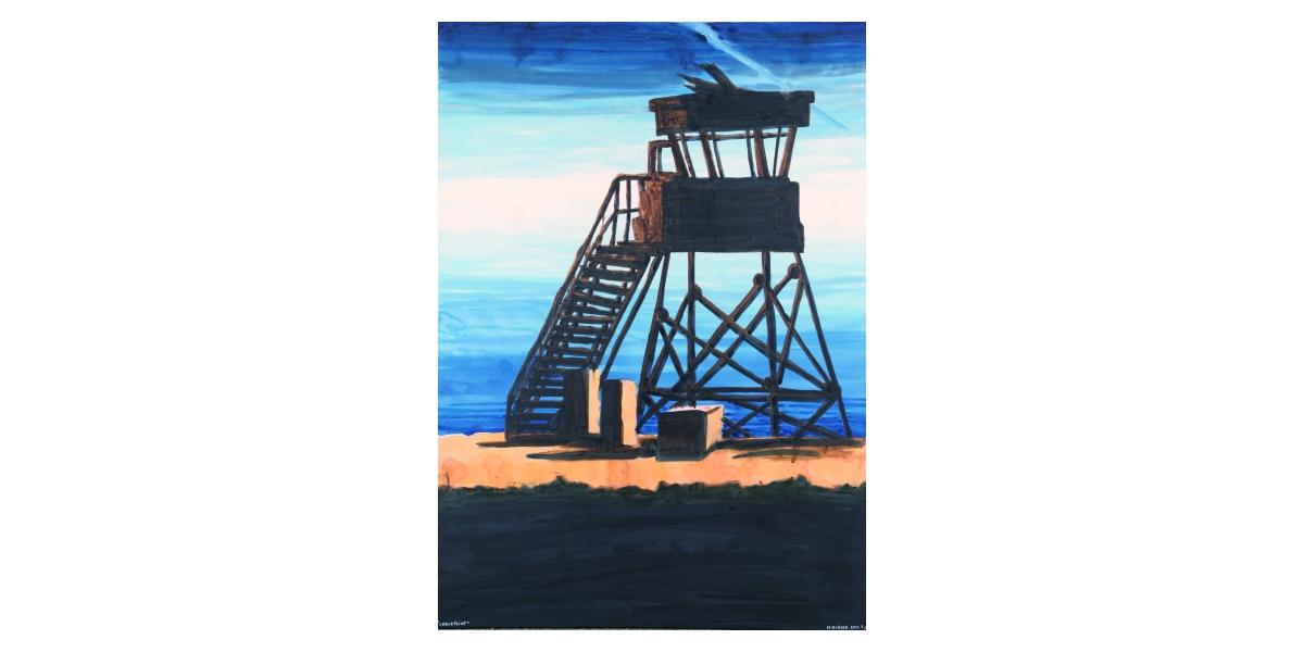 Checkpoint, 2011, aquarelle et technique mixte sur toile, 72 x 130, Tel Aviv, Hervé Dirosa