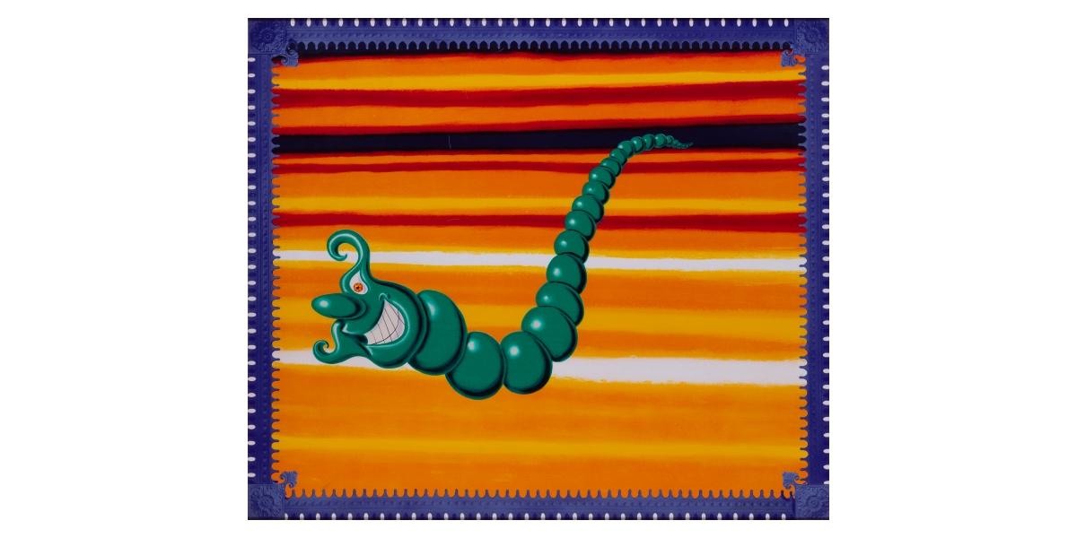 Kenny Scharf, Jade pea god (1989), sérigraphie en couleurs sur papier, 85 x 96 cm