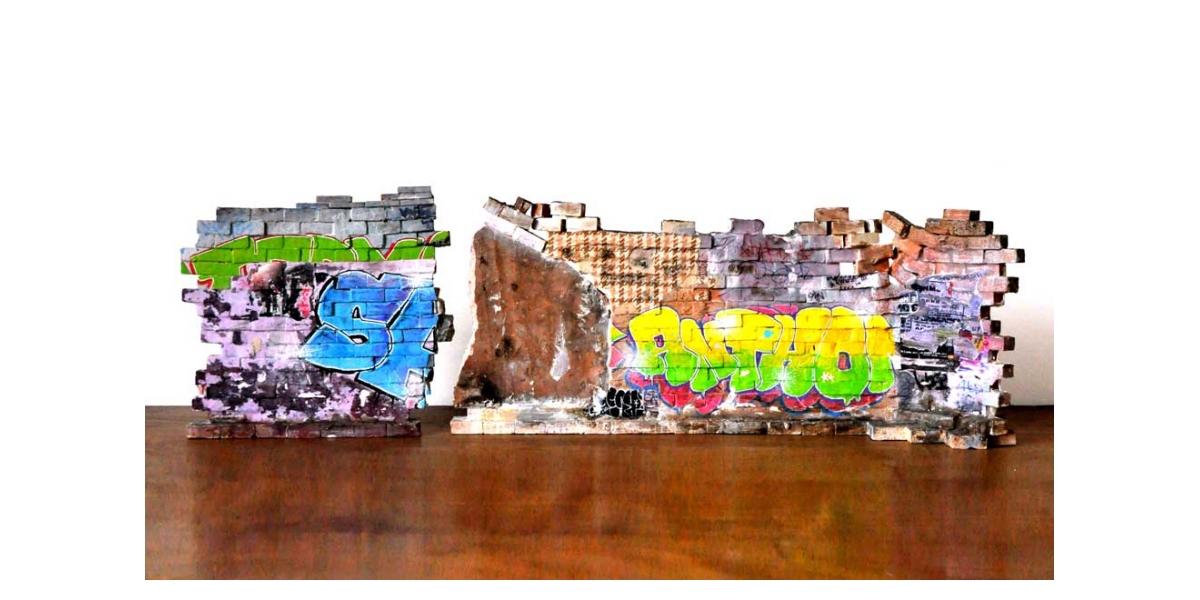 Mur Hard core - Verso 23x52.5x12.3 et 23x24.5x3cm. Un titre de propriété de mur est remis à l'acquéreur. Ex unique.