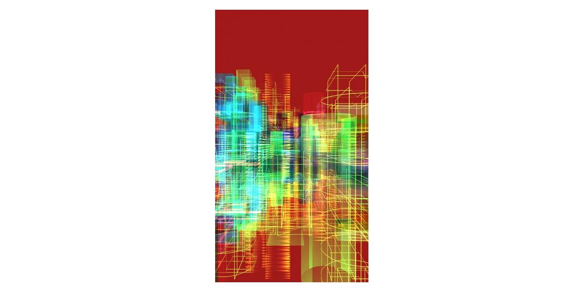 Méta-Cités 2013, oeuvre de réalité virtuelle générative,  LCD (112 x 64 cm)