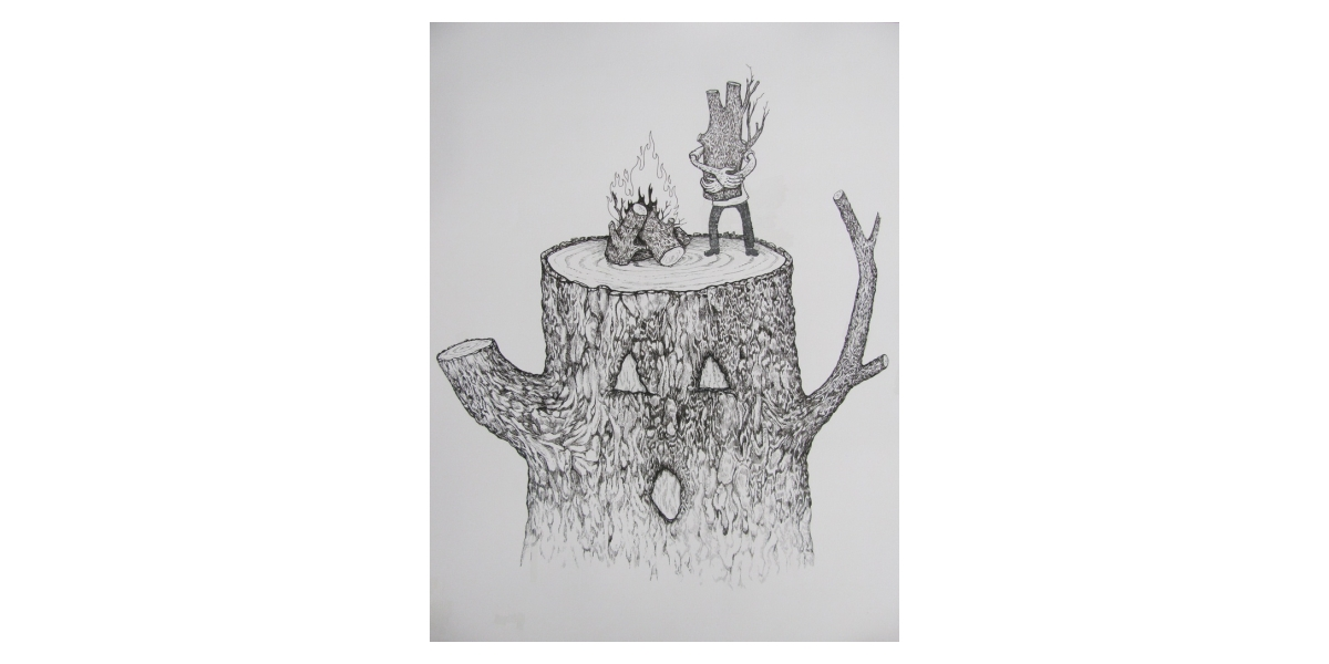Cut and burn, 2011, Encre et stylo sur papier, 50,5 x 40,5 cm