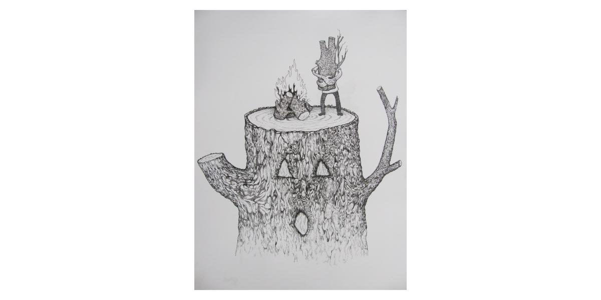 Cut and burn, 2011, Encre et stylo sur papier, 50,5 x 40,5 cm