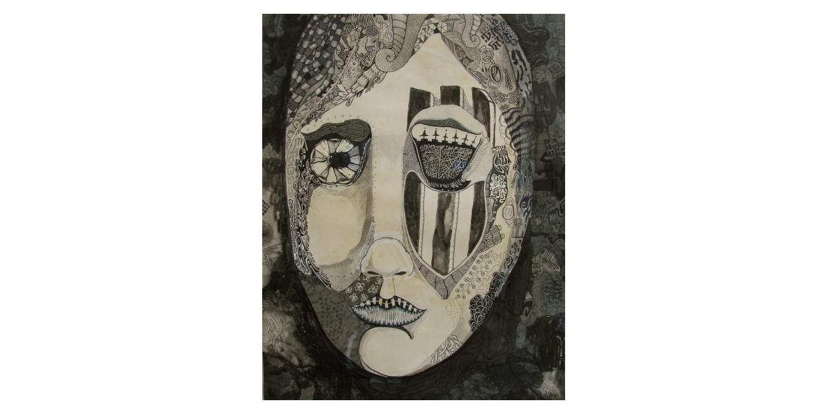 Face, 2011, Encre et stylo sur papier, 50 x 39 cm
