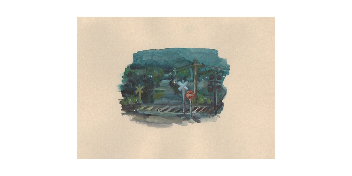 Railroad, watercolour on paper, 19 x 28.5 cm