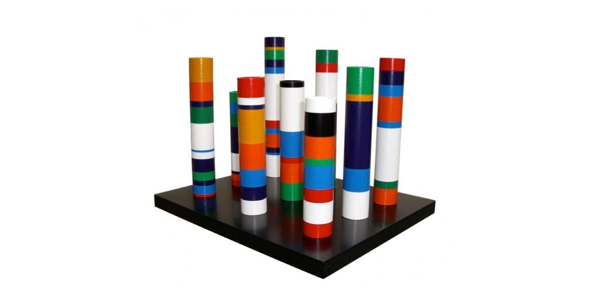 Sculpture - colonnes de table, 1972-2006, PVC laqué, 31 x 25 x 25 cm, Guy De Rougemont