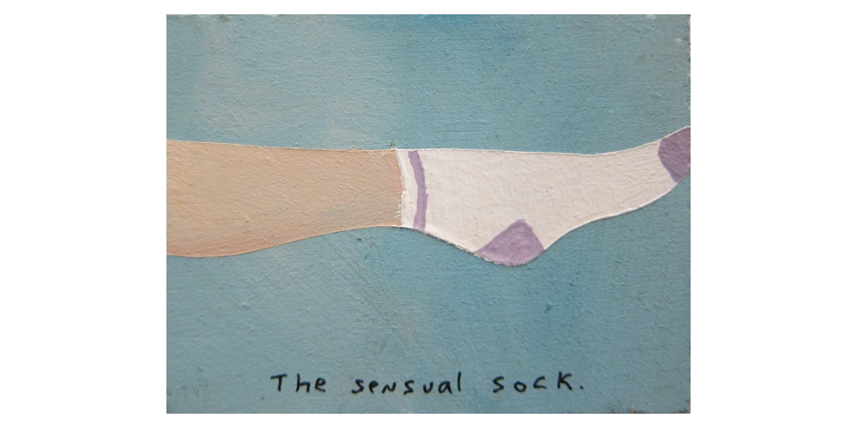 The sensual sock, 2011, Technique mixte sur panneau, 4 x 5 cm