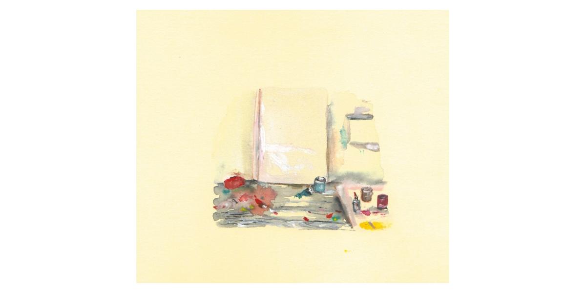 Studio, watercolour on paper, 14 x 19 cm