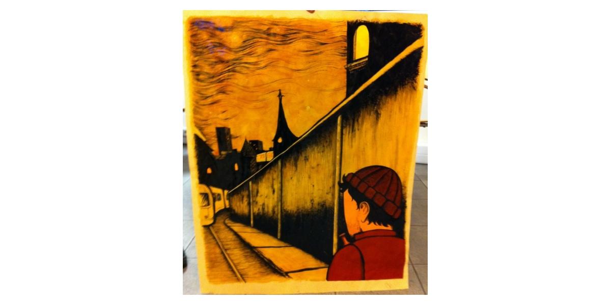 Man in the Town, 2011, Technique mixte sur papier, 70 x 88 cm, Adrian Williams
