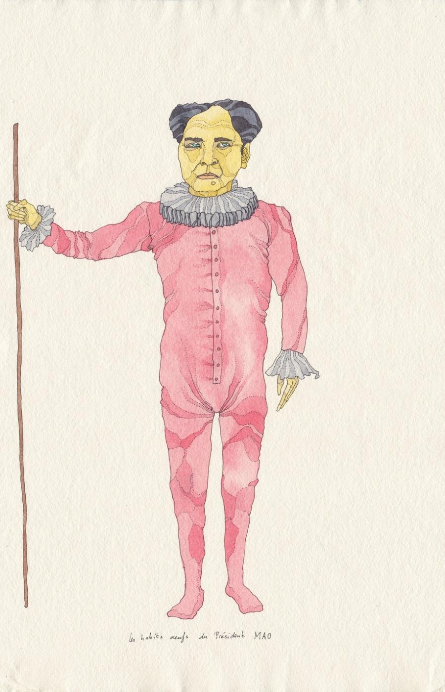<b>Clément Bataille</b>, <em>Les habits neufs du Président Mao</em>, Encre et aquarelle sur papier recyclé, 2019 /40x29cm