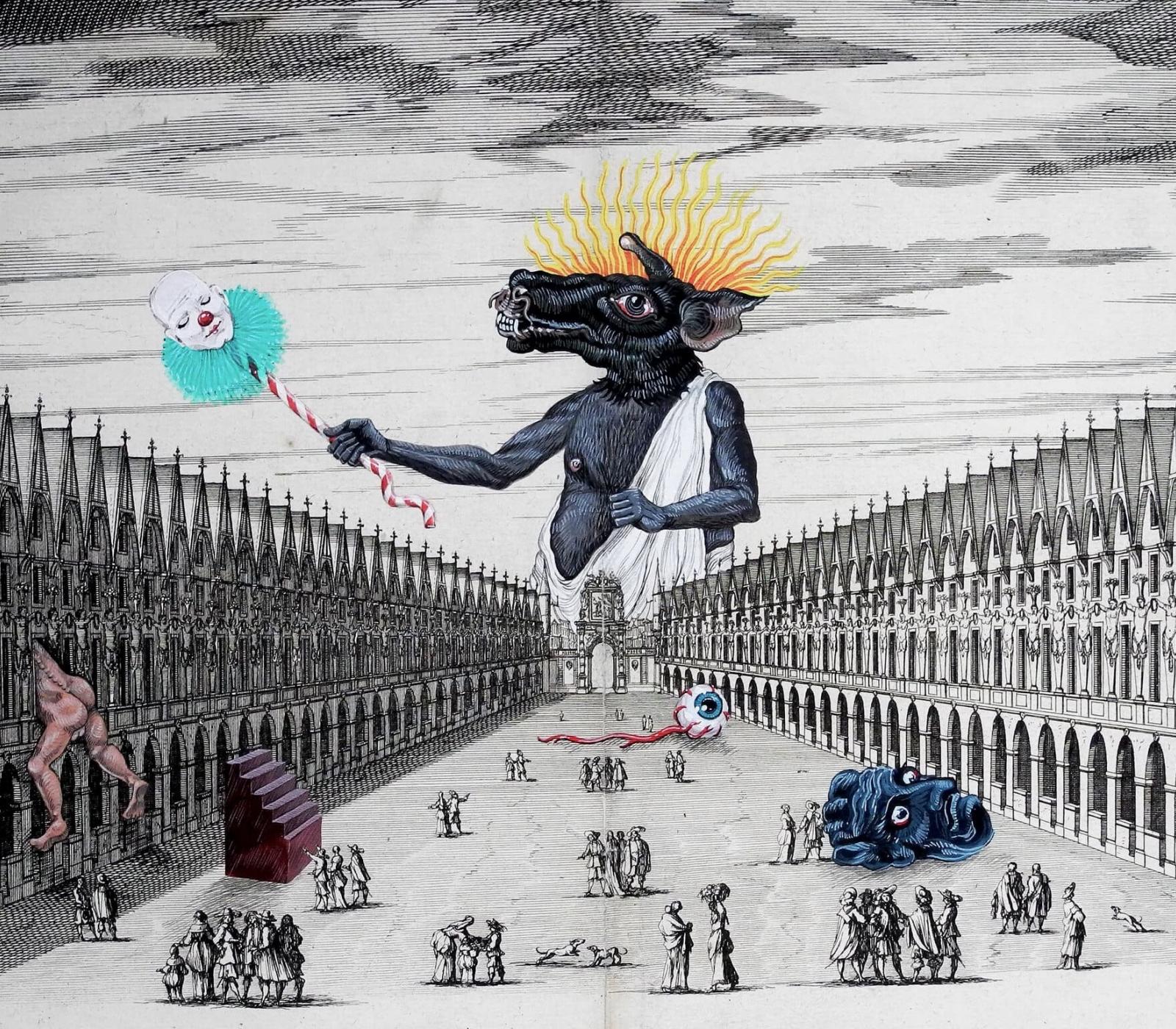 <b>Clément Bataille</b>, <em>Notre Dame</em>, Acrylique, encre et aquarelle sur gravure XIXe siècle, 2018 /63x66cm