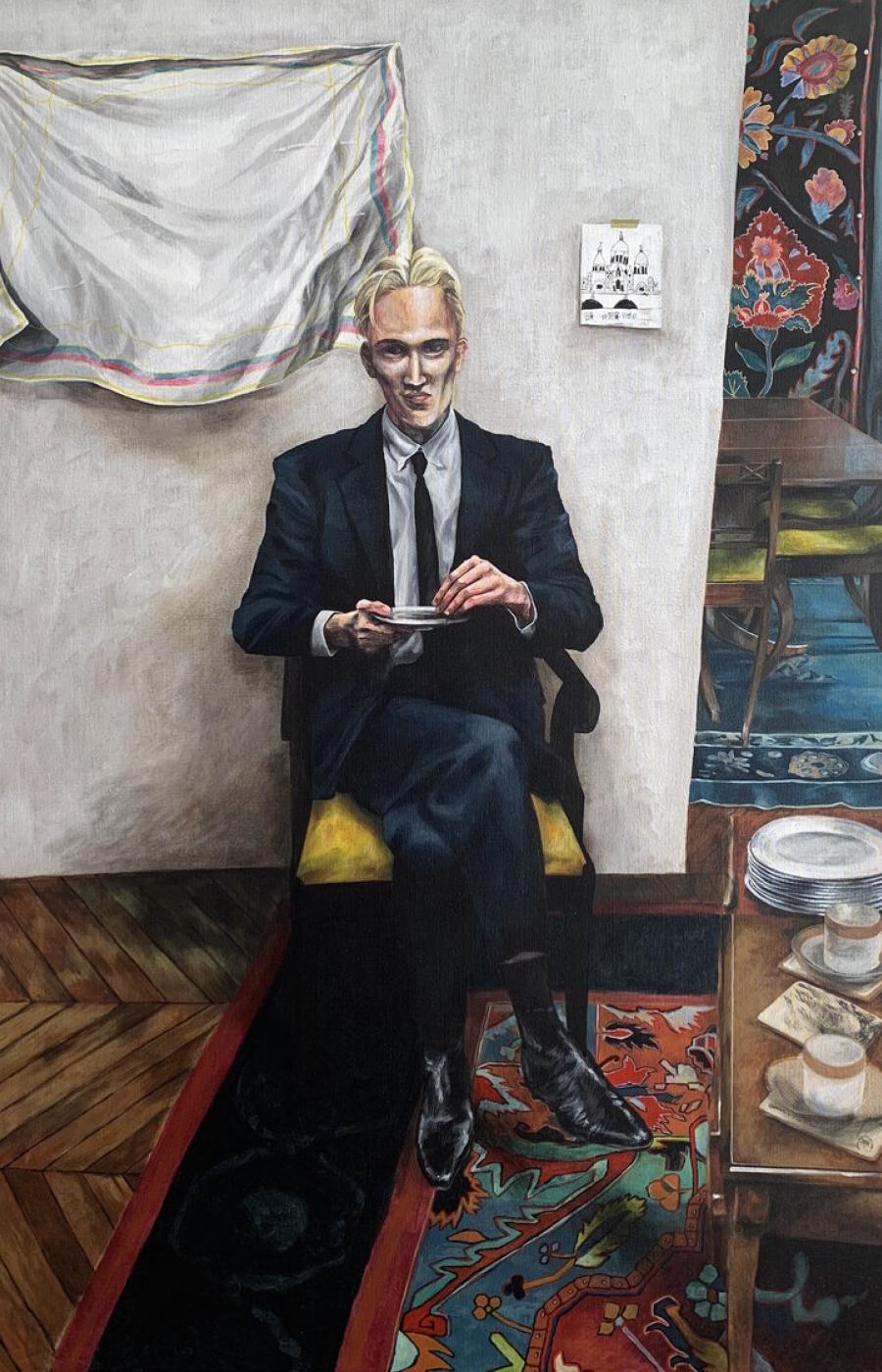 <b>Clément Bataille</b>, <em>Philippe<em>, Acrylique sur toile, 2020 /120x80cm