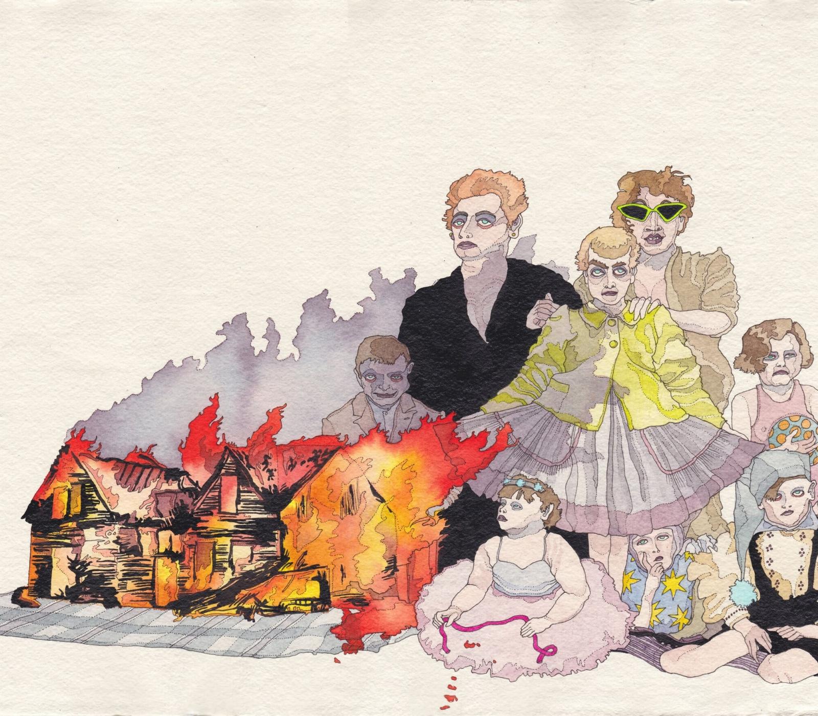 <b>Clément Bataille</b>, <em>Fire</em>, Encre et aquarelle sur papier recyclé, 2019 /40x29cm