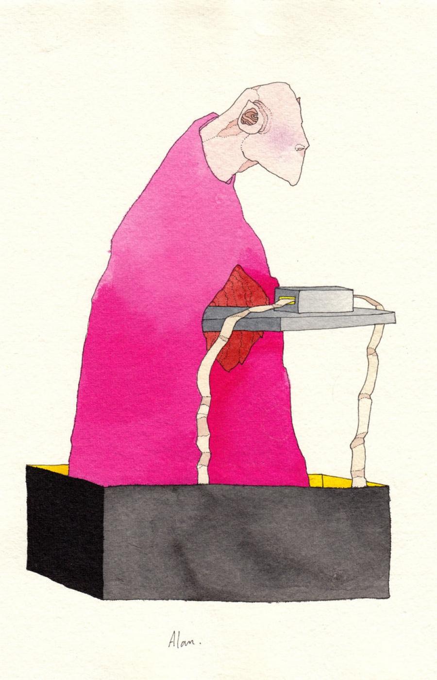<b>Clément Bataille</b>, <em>Alan</em>, Encre et aquarelle sur papier recyclé, 2016 /21x29,7cm