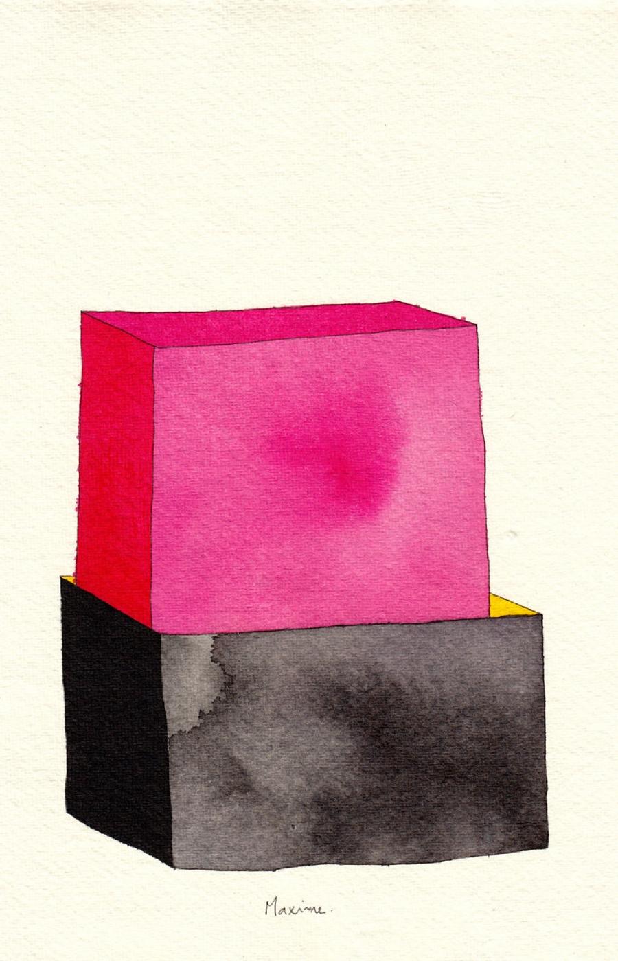 <b>Clément Bataille</b>, <em>Maxime.</em>, Encre et aquarelle sur papier recyclé, 2015 /21x29,7cm