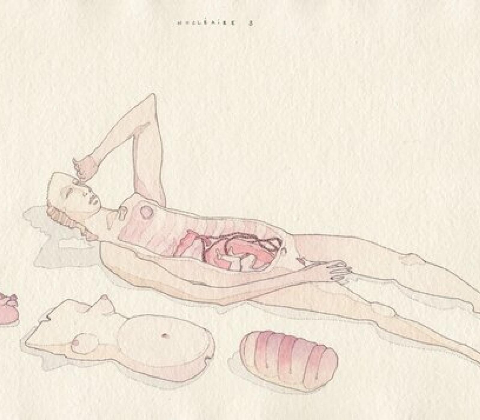 <b>Clément Bataille</b>, <em>Poupée</em>, Encre et aquarelle sur papier recyclé, 2020 /40x29cm