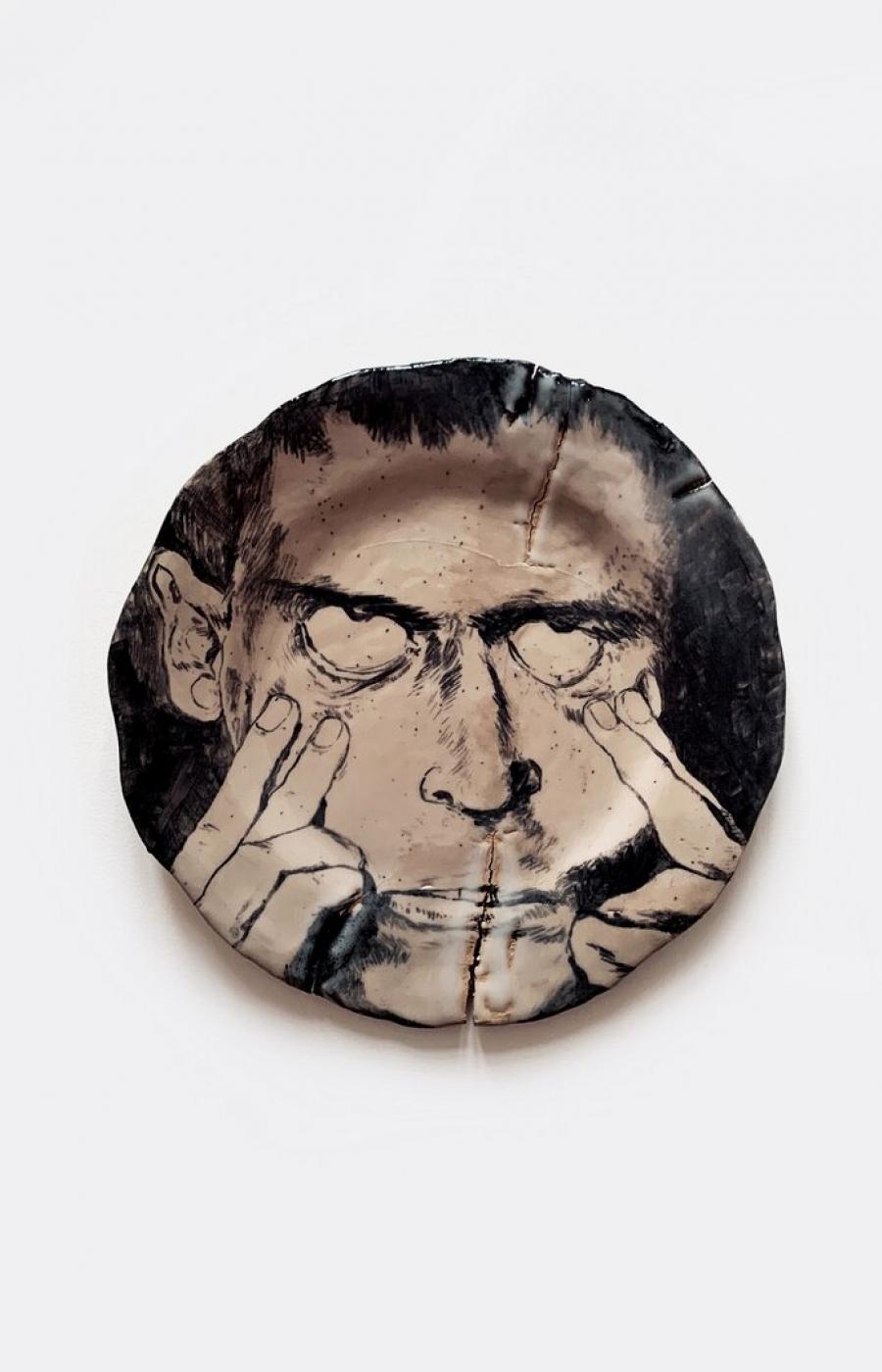 <b>Clément Bataille</b>, <em>Portrait 2</em>, Grès oxydé et émaillé à haute température, 2019 /23x23x3cm