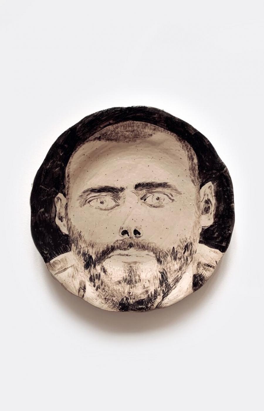 <b>Clément Bataille</b>, <em>Portrait 1</em>, Grès oxydé et émaillé à haute température, 2019 /23x23x3cm