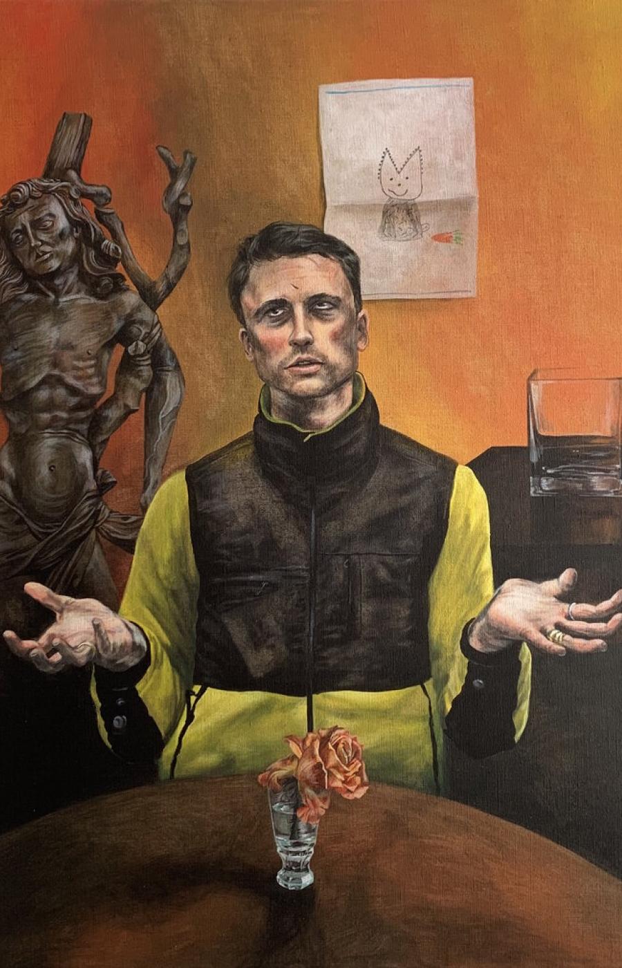 <b>Clément Bataille</b>, <em>Autoportrait</em>, Acrylique sur toile, 2020 /80x60cm