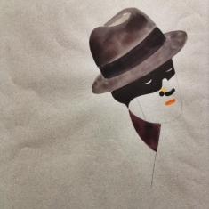 Homme au chapeau (1982), Aquarelle et gouache sur papier, 53x41 cm
