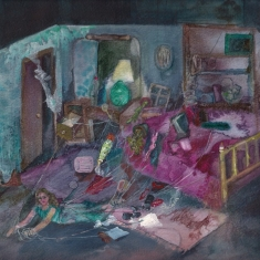 Bedroom Performance, mixed media on paper, 28 x 28 cm