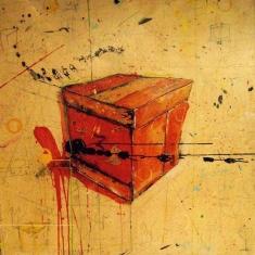 Cube Rouge - Technique mixte sur Bois - 120 x 120 cm - 2003 - VENDU